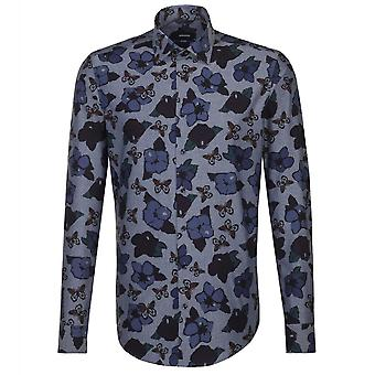 Seidensticker Kent Collar blommig Print Mens Business skjorta
