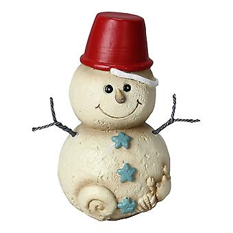 Coastal Christmas Beach Sand Pail Hat on Baby Snowman 5 Inch Tabletop Figurine