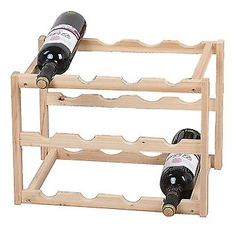 Knight Nora 3 Tier Wooden Wine Rack Natural Colour Easy to Store