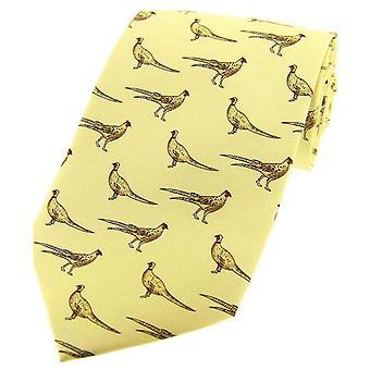 David Van Hagen står fasaner landet silke slips - pastell gule