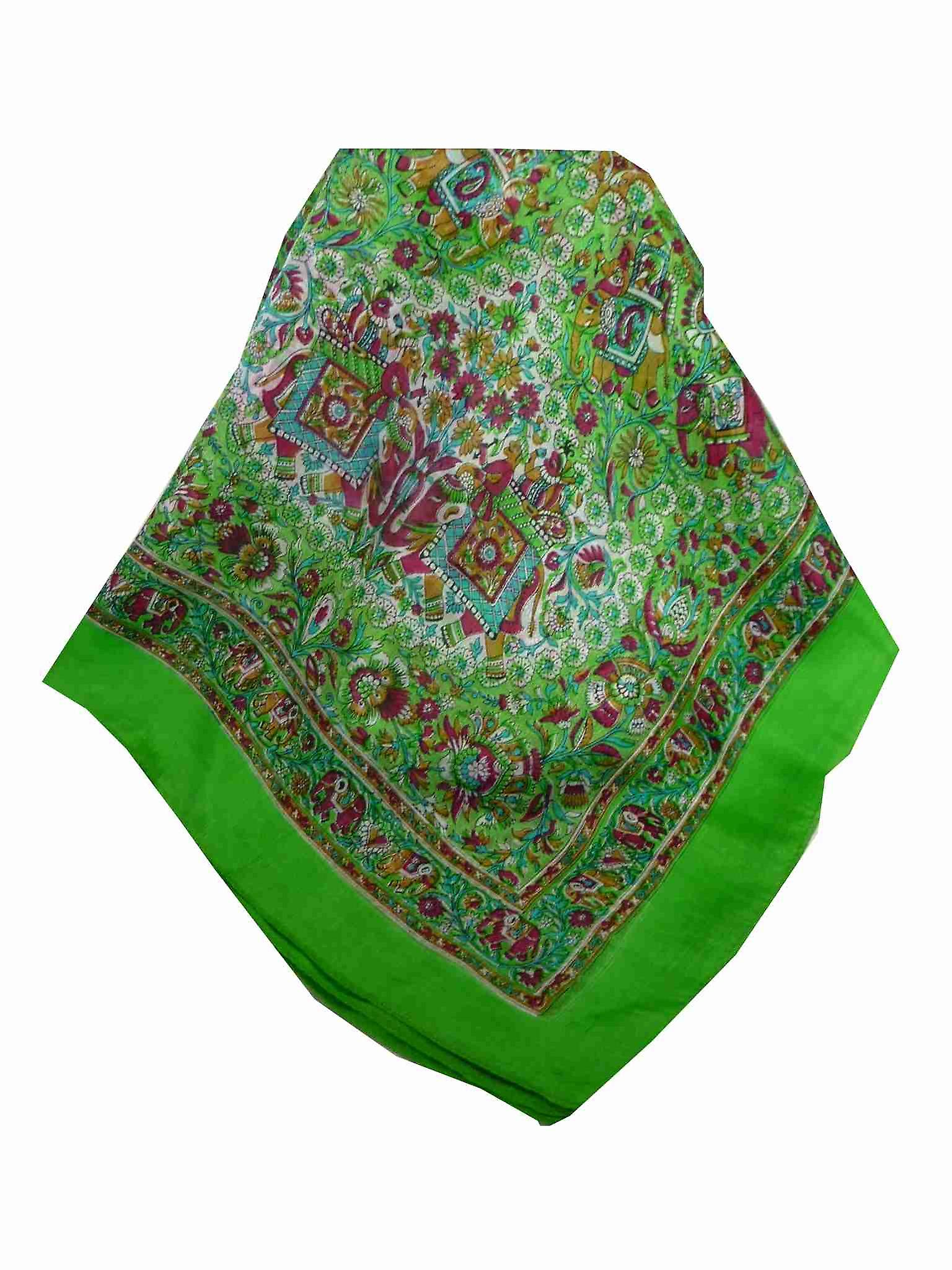 Mulberry Silk Traditional Square Scarf Har Citron Vert by Pashmina & Silk