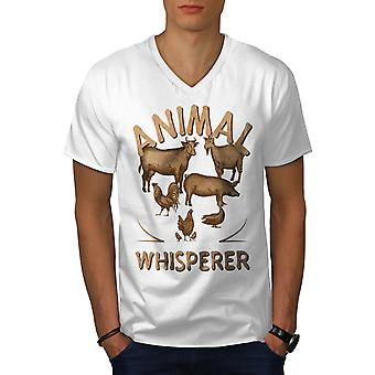 Animal Whisperer Farmer Men WhiteV-Neck T-Shirt | Wellcoda