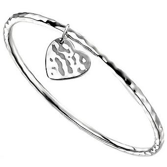 Beginnings Heart Tag Hammered Bangle - Silver