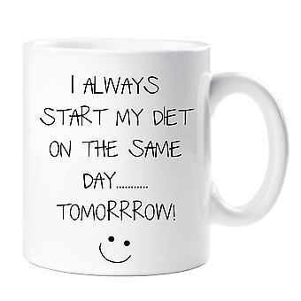 Ich fange immer meine Ernährung am selben Tag morgen Becher