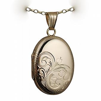 9ct Gold 27x20mm oval half hand engraved Locket with a belcher Chain 24 inches