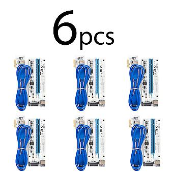 6 pack VER008S uitbreidingskaart pci-e x1 te x16 6pin + 4pin SATA power connector 60 cm