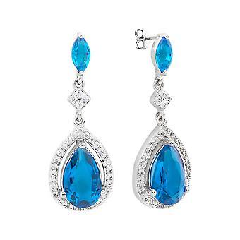 18 ك WG مطلي دمعة زرقاء خفيفة أزياء أقراط. جولييت بيرثا جمع المرأة