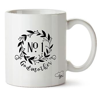 Hippowarehouse Number One Godmother Floral Wreath Printed Mug Cup Ceramic 10oz