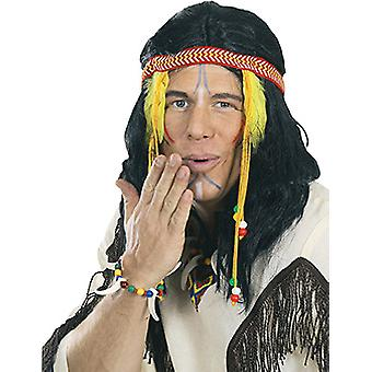 Indian wig schilterlang men black feather accessory Carnival