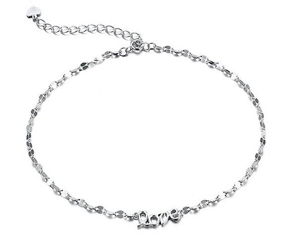 925 Sterling Silver Heart Charm Love Ankle Chain