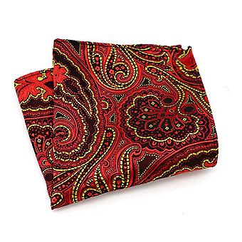 Red & yellow floral handkerchief party pocket square