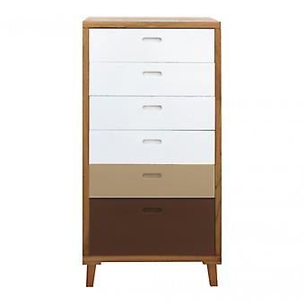 Furniture Rebecca Cassese Dresser 6 White White Wooden Drawers Brown 119x60x45