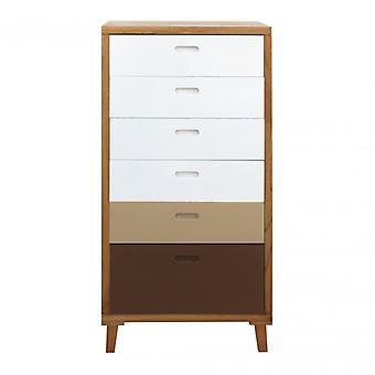 Möbel Rebecca Cassese Kommode 6 weiß weiß Holz Schubladen braun 119x60x45