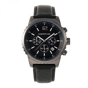Morphic M67 Series Chronograph Leather-Band Watch w/Date - Gunmetal/Black