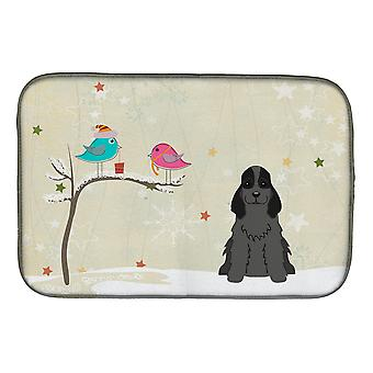 Christmas Presents between Friends Cocker Spaniel Black Dish Drying Mat