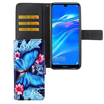 Huawei Y7 2019 Tasche Handy-Hülle Schutz-Cover Flip-Case mit Kartenfach Blauer Schmetterling
