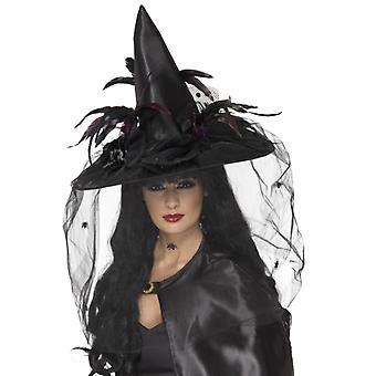 Kapelusz czarownicy, pióro i net, czarny