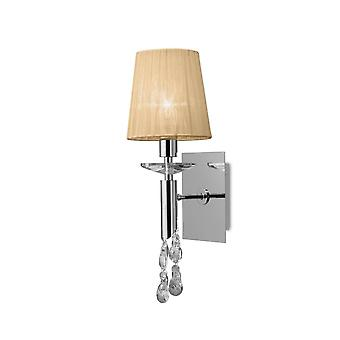 Mantra M3864/S Tiffany Wall Lamp Switched 1+1 Light E14+G9, Polished Chrome With Soft Bronze Shade & Clear Crystal