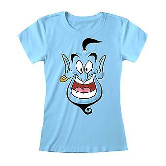 Kobiety's Aladyn Genie Twarz Niebieski Dopasowany T-Shirt