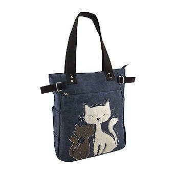 Furry Rhinestone koty płótnie Zip Top Tote Bag