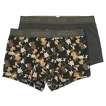 HOM DOG Boxerlines Boxer Brief 2-Pack, Khaki / Khaki Print, Small