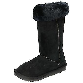 JWF noir plat mi bottes chaudes de la fourrure de suédine doublée veau