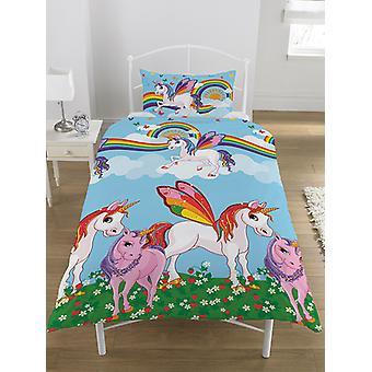 Rainbow Unicorns Single Duvet Cover and Pillowcase Set