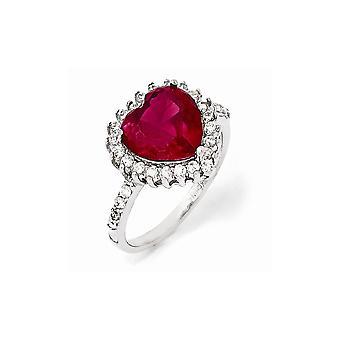 925 plata de ley facetada 100 faceta rubí sintético y zirconia cz cúbica simulada diamante amor anillo de corazón joyería gif