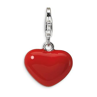925 Sterling Silver Solid Reversible Rhodium plated Fancy Lobster Closure 3 D Red Enameled Love Heart With Lobster Clasp