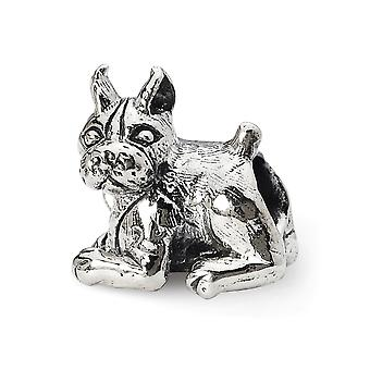 925 Sterling Silver Polished Antique finish Reflections Boxer Bead Charm