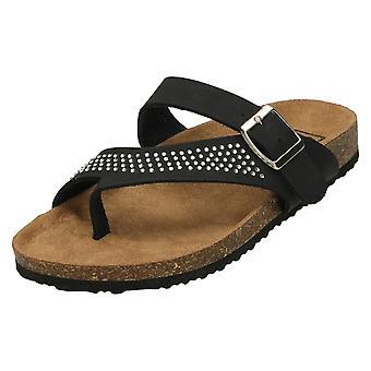 Ladies Down To Earth Diamante Toe Loop Sandals F00046