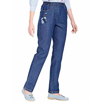 Ladies Womens Embroidered Jean