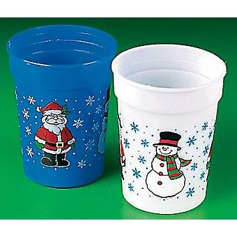 12 świątecznych plastikowych kubeczków imprezowych