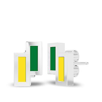 University Of Oregon Sterling Silver Asymmetric Enamel Stud Earrings In Green and Yellow