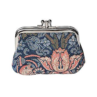 William morris - strawberry thief blue coin purse by signare tapestry / frmp-stbl