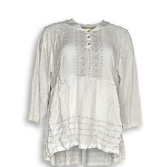LOGO by Lori Goldstein Women's Top 14 Woven Top Embroidery White A286971