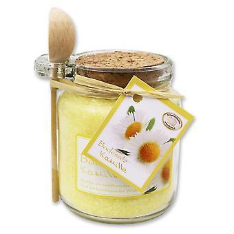 Florex bain sels bain additif camomille dans le verre décoratif avec cuillère en bois 300 g