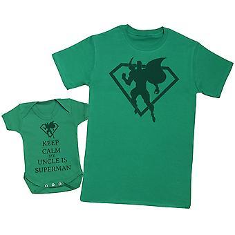 Kalmte bewaren mijn oom is Superman matching vader Baby Gift Set-mens T shirt & Baby Romper