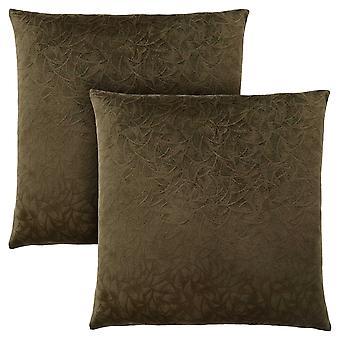 """18"""" x 18"""" Dark Green, Floral Velvet - Pillow 2pcs"""