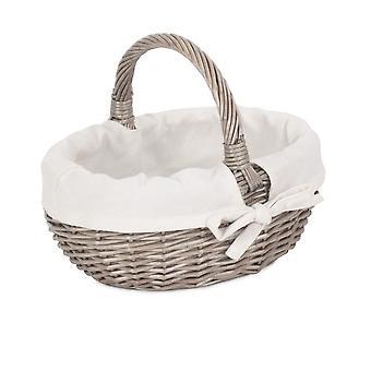 Large Lined Antique Wash Wicker Bathroom Shopping Basket