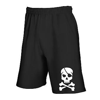Black tracksuit shorts dec0238 pirate skull