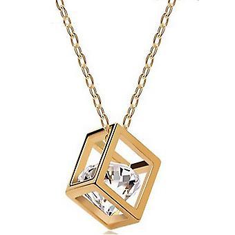 Flydende sten terning stil Swarovski elementer østrigske krystal vedhæng guld halskæde