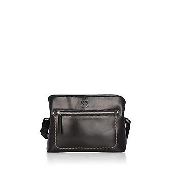 Arnside Leather Cross Body Bag in Black