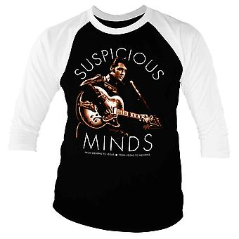 Elvis Presley Baseball Shirt Suspicious Minds new Official Mens Black 3/4 Sleeve