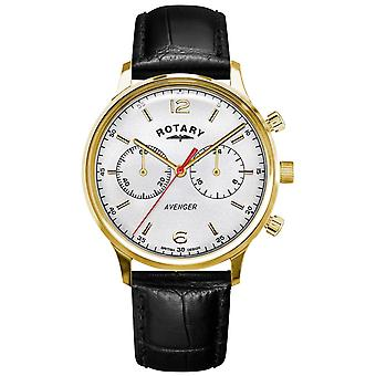 Rotary Men's Avenger | Black Leather Strap | Gold Case | White Dial GS05206/70 Watch