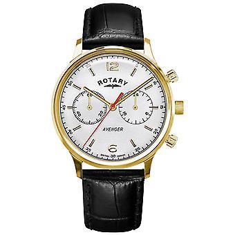 Rotary Miesten & Apos; Musta nahkahihna | Kulta-kotelo | Valkoinen dial GS05206/70 Watch
