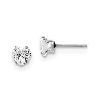 Acier inoxydable poli 6mm Love Heart CZ Cubic Zirconia Simulated Diamond Stud Post Boucles d'oreilles Bijoux Bijoux pour les femmes