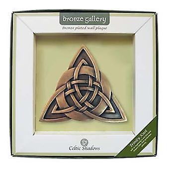 Islandcraft Trinity Knoten Bronze vergoldet Wand Plaque
