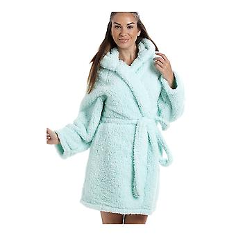 Camille Luxurious Lightweight Soft Fluffy Fleece Mint Hooded Dressing Gown