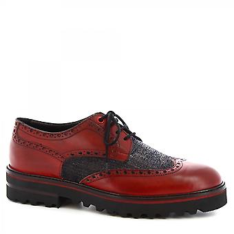 Leonardo Shoes Men's handmade casual lace-ups brogues shoes red black leather